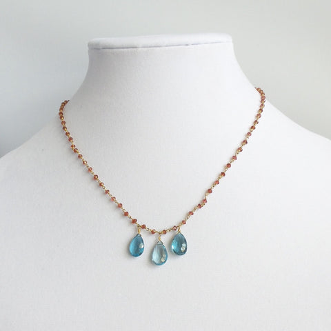 Triple London Topaz Gemstone Necklace
