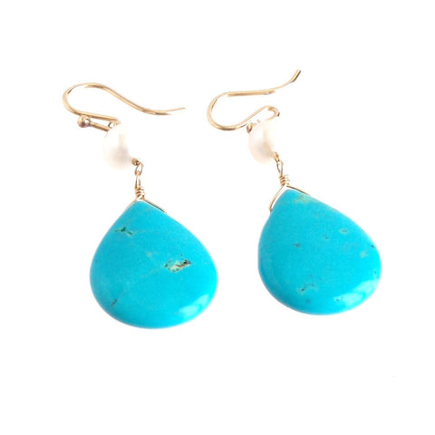 Turquoise Drops with Pearl Pendant Earrings