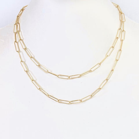 Open Link Double Chain Necklace