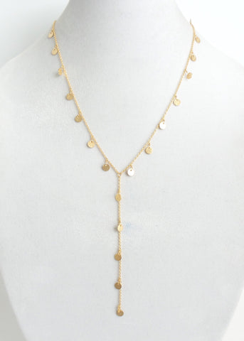 Charming Disk Gold Lariat Necklace