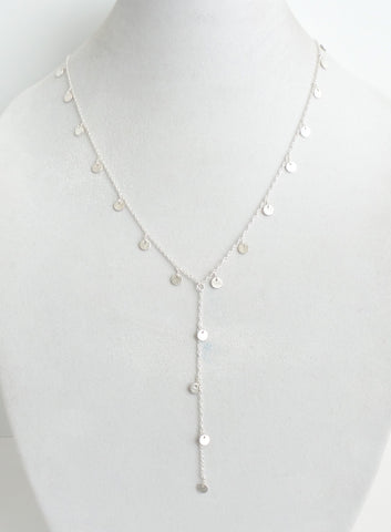 Charming Disk Silver Lariat Necklace
