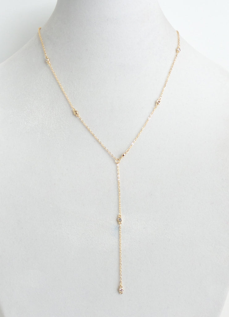Circle Drop Gold Lariat Necklace - Estilo Concept Store