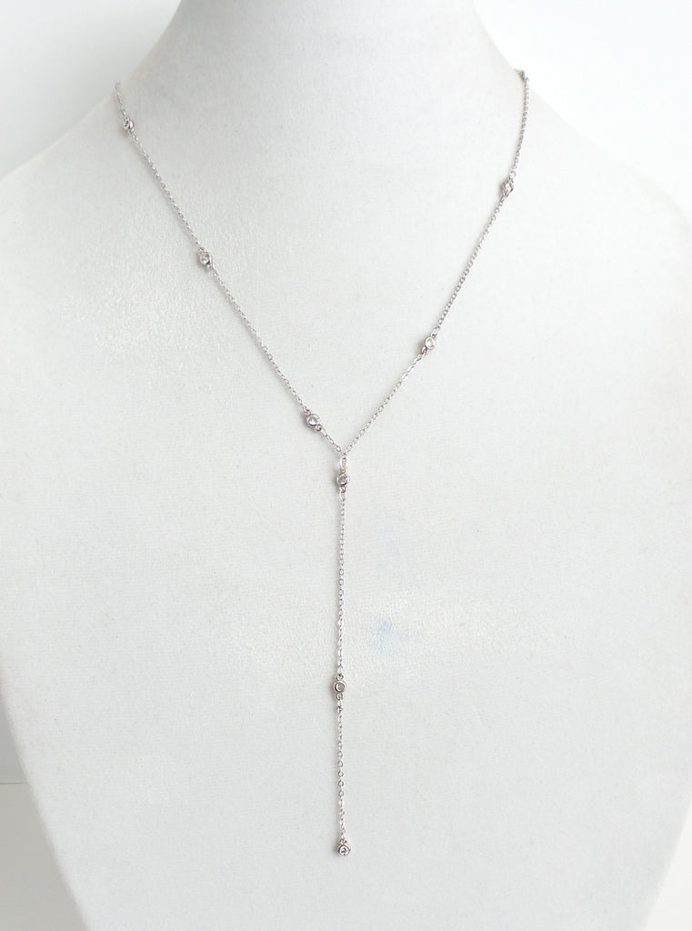 Circle Drop Silver Lariat Necklace - Estilo Concept Store