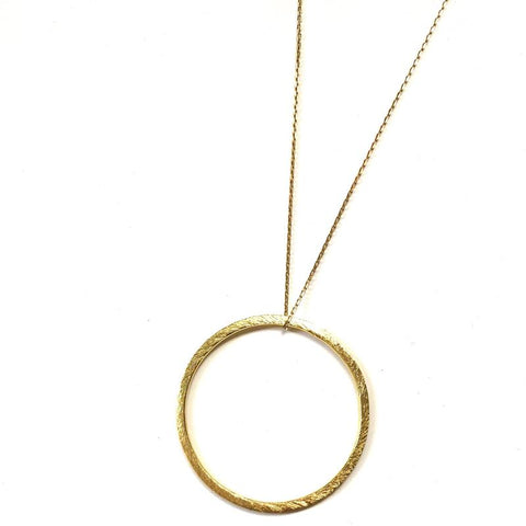 Long Gold Circle Drop Necklace - Estilo Concept Store