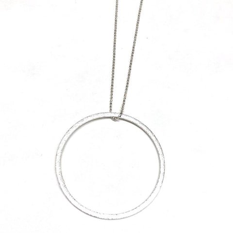 Long Silver Circle Drop Necklace - Estilo Concept Store