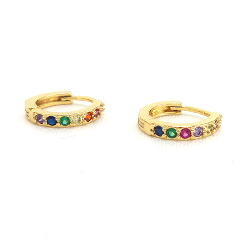 Rainbow Mini Hoop Huggies- Gold Earrings - Estilo Concept Store