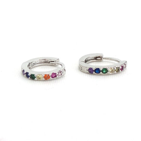 Rainbow Mini Hoop Huggies- Silver Earrings - Estilo Concept Store