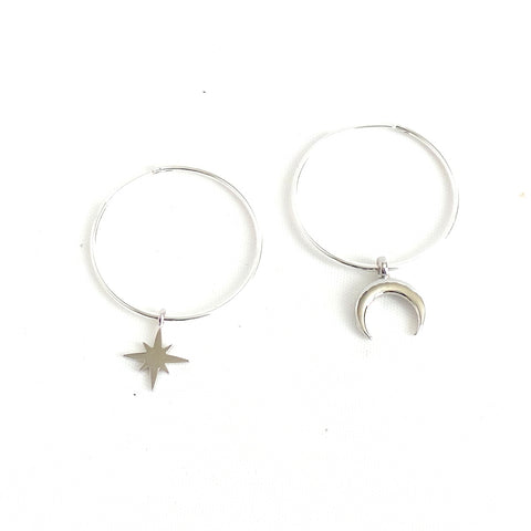 Starburst and Crescent Hoop Earrings - Estilo Concept Store
