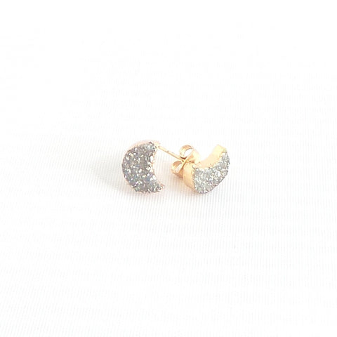 Druzy Moon Stud Earrings