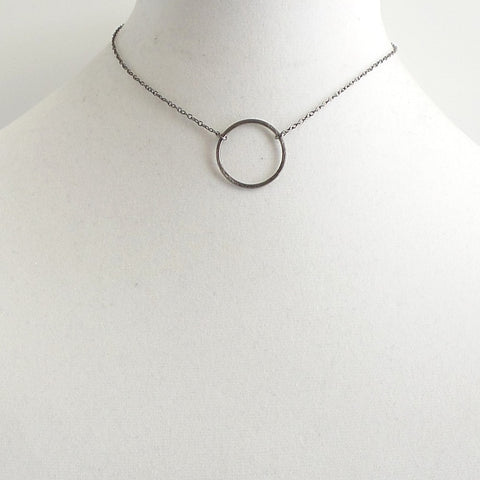 Gunmetal Circle Choker Necklace