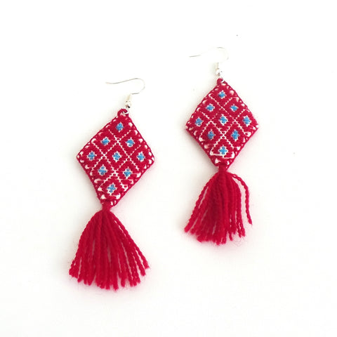 Red Artisanal Tassel Earrings