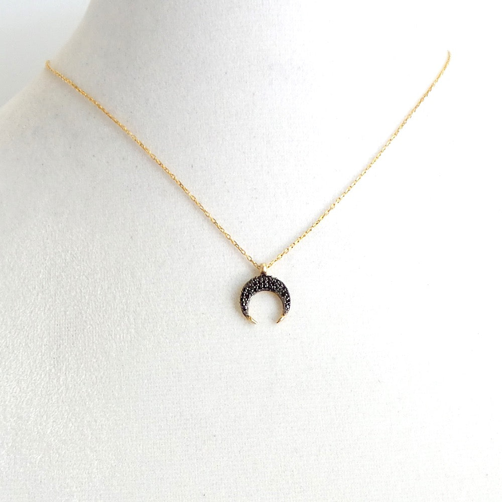 Tiny Crescent Moon Charm Necklace