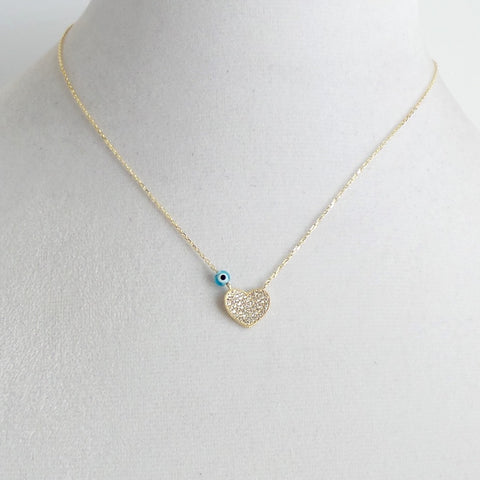 Tiny Heart with Evil Eye Necklace