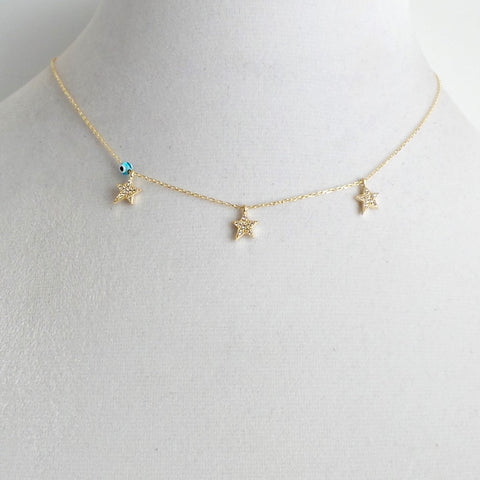 Triple Star Necklace with Evil Eye