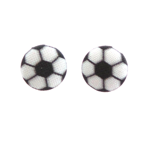 Soccer Fabric Button Earrings