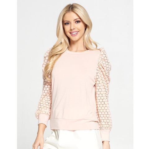 Pink Sheer Polka Dot Puff Sleeve Top