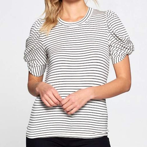 Striped Puff Sleeve Top - Estilo Concept Store