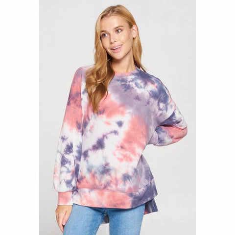 Tie Dye Sweatshirt with Side Slits - Estilo Concept Store