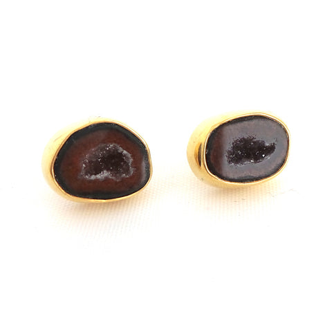 Brown Geode Gold Earrings