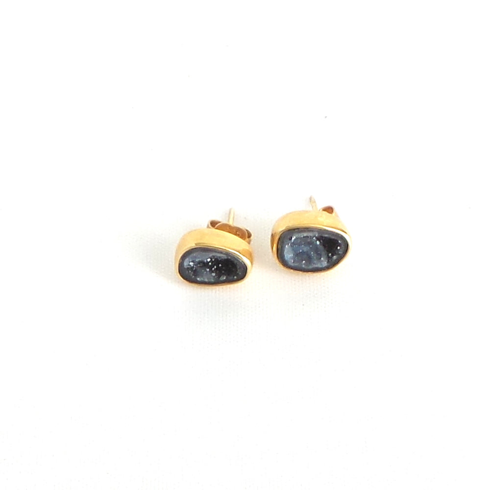 Dark Grey Geode Gold Earrings - Estilo Concept Store
