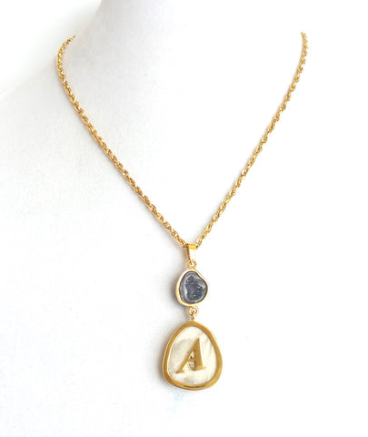 Geode and Shed Antler Initial Necklace