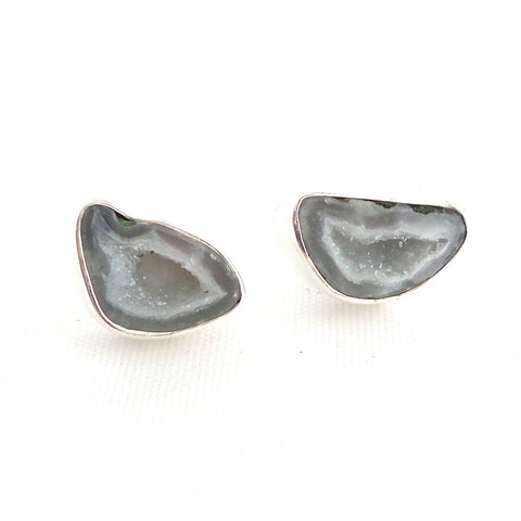 Light Grey Geode Silver Earrings
