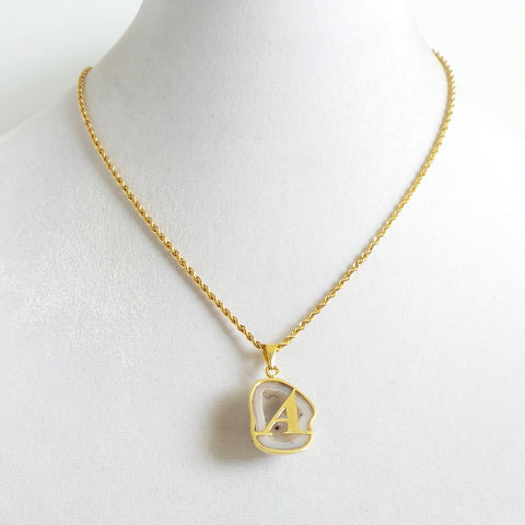 Gold Geode Initial Necklace