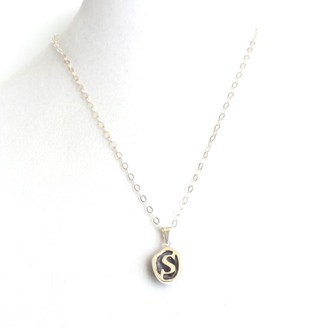 Sterling Silver Geode Initial Necklace