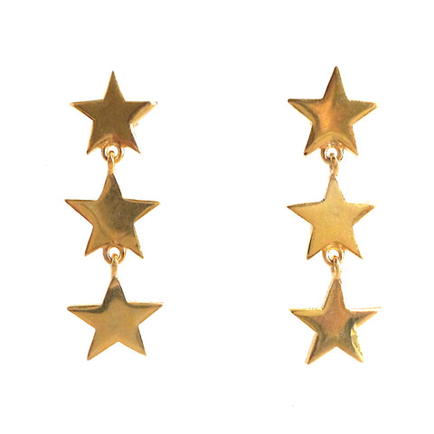 Triple Star Linear Earrings