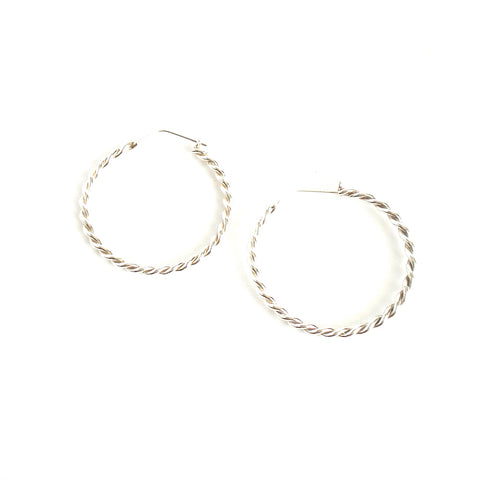 Twisted Big Silver Hoop Earrings
