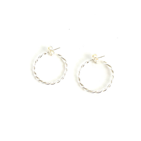 Twisted Small Silver Hoop Earrings
