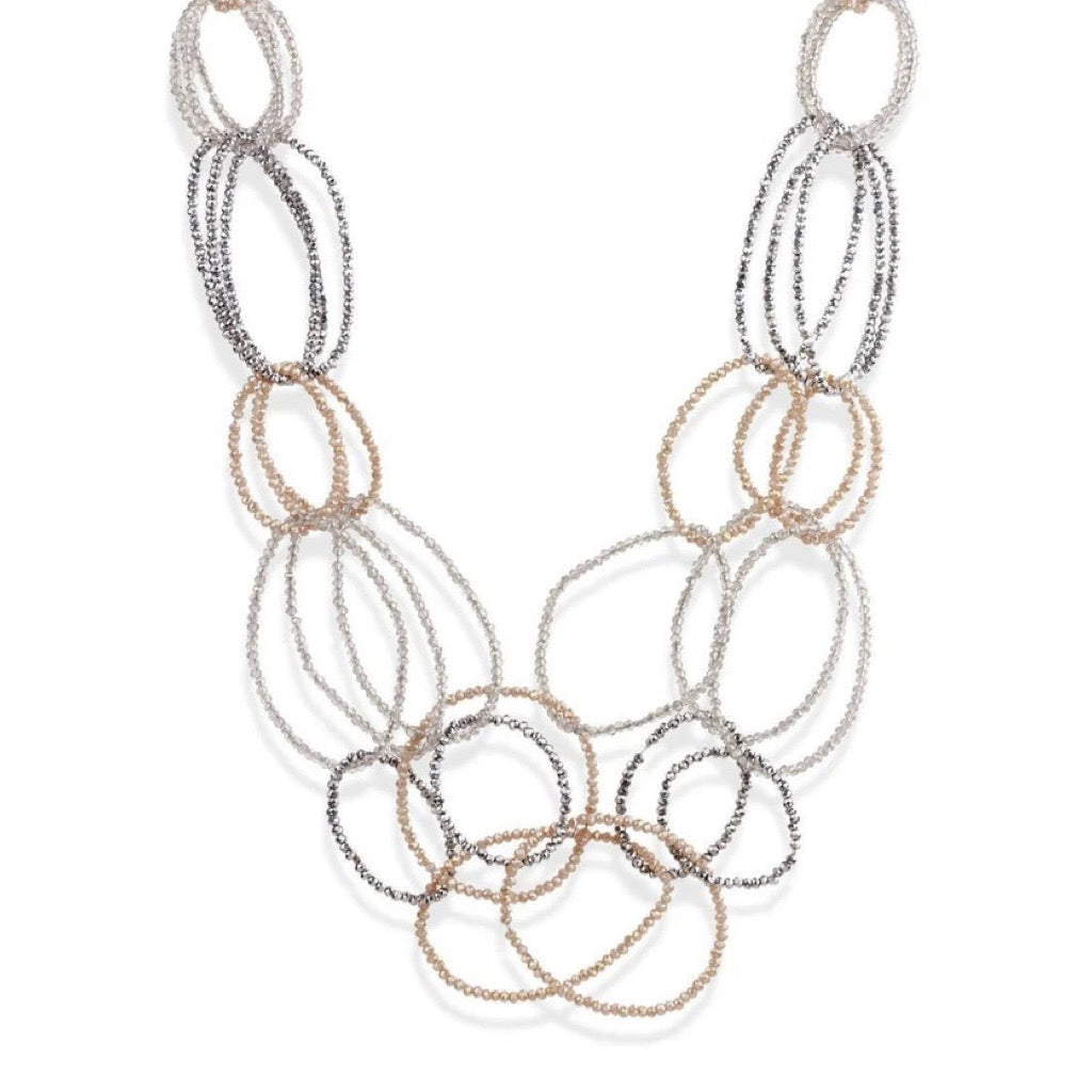 Champagne 3 Layer Oval Crystal Beaded Necklace - Estilo Concept Store