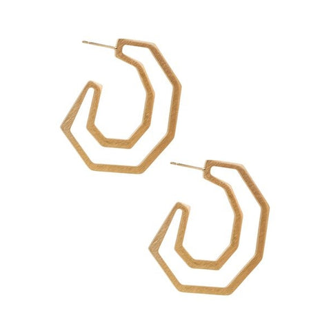 Angled Gold Hoop Earrings