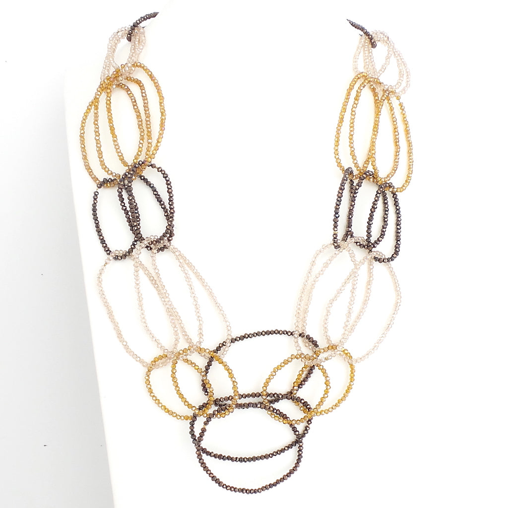 Gold 3 Layer Oval Crystal Beaded Necklace - Estilo Concept Store