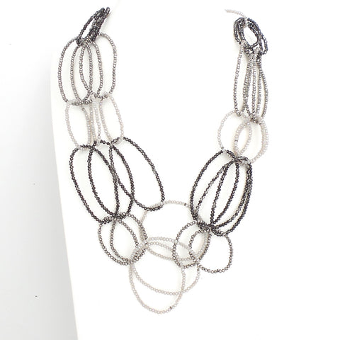 Grey 3 Layer Oval Crystal Beaded Necklace