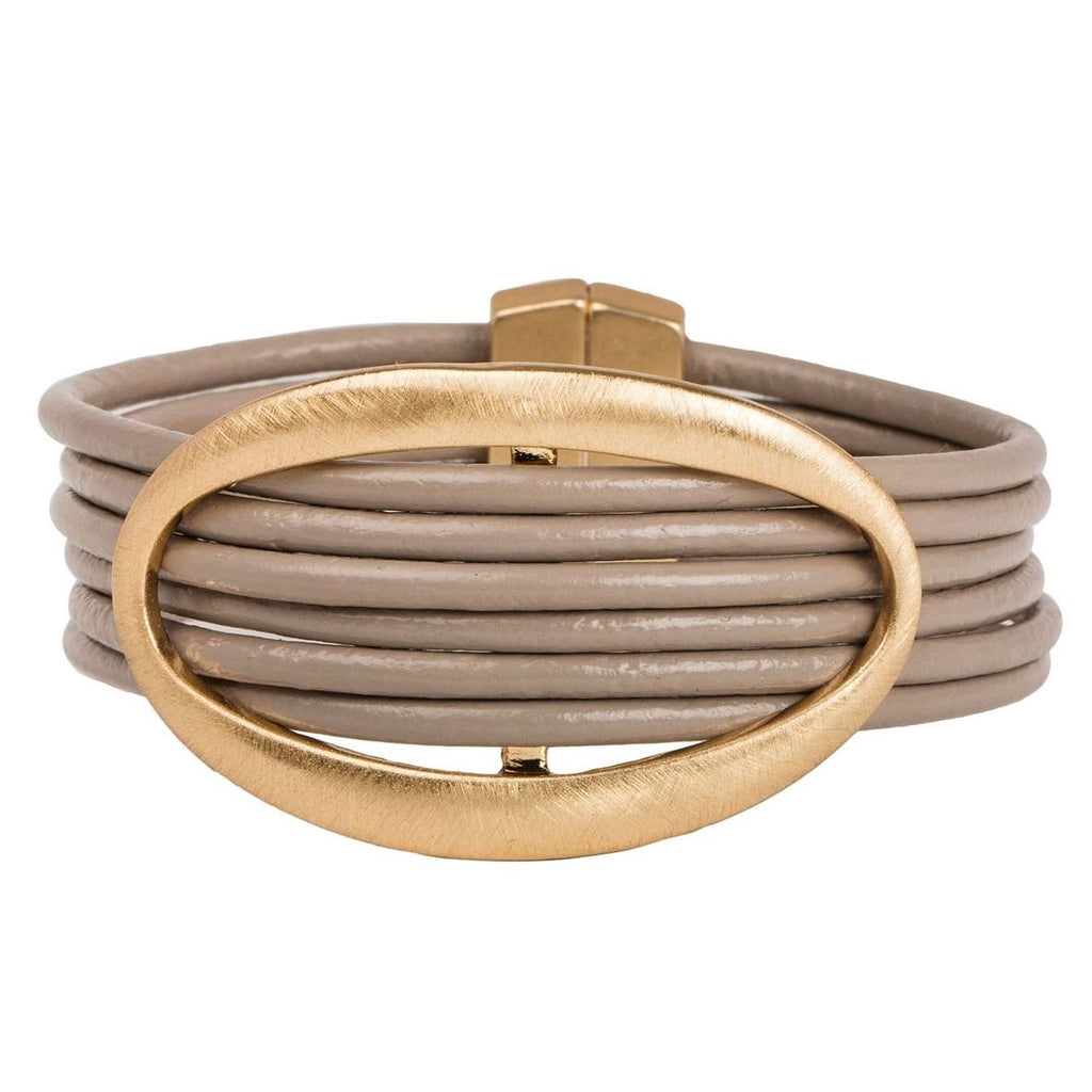 Oval Ring Leather Magnetic Bracelet