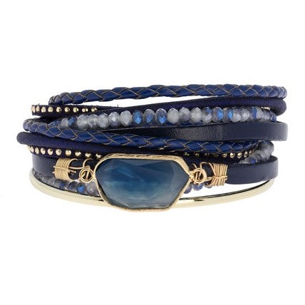 Crisp and Classic Blue Leather Bracelet