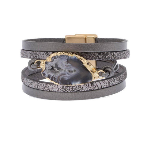Morning Dark Grey Leather Bracelet - Estilo Concept Store