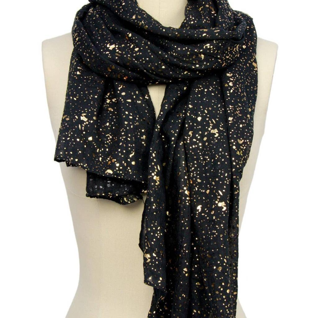Oblong Black and Gold Scarf - Estilo Concept Store