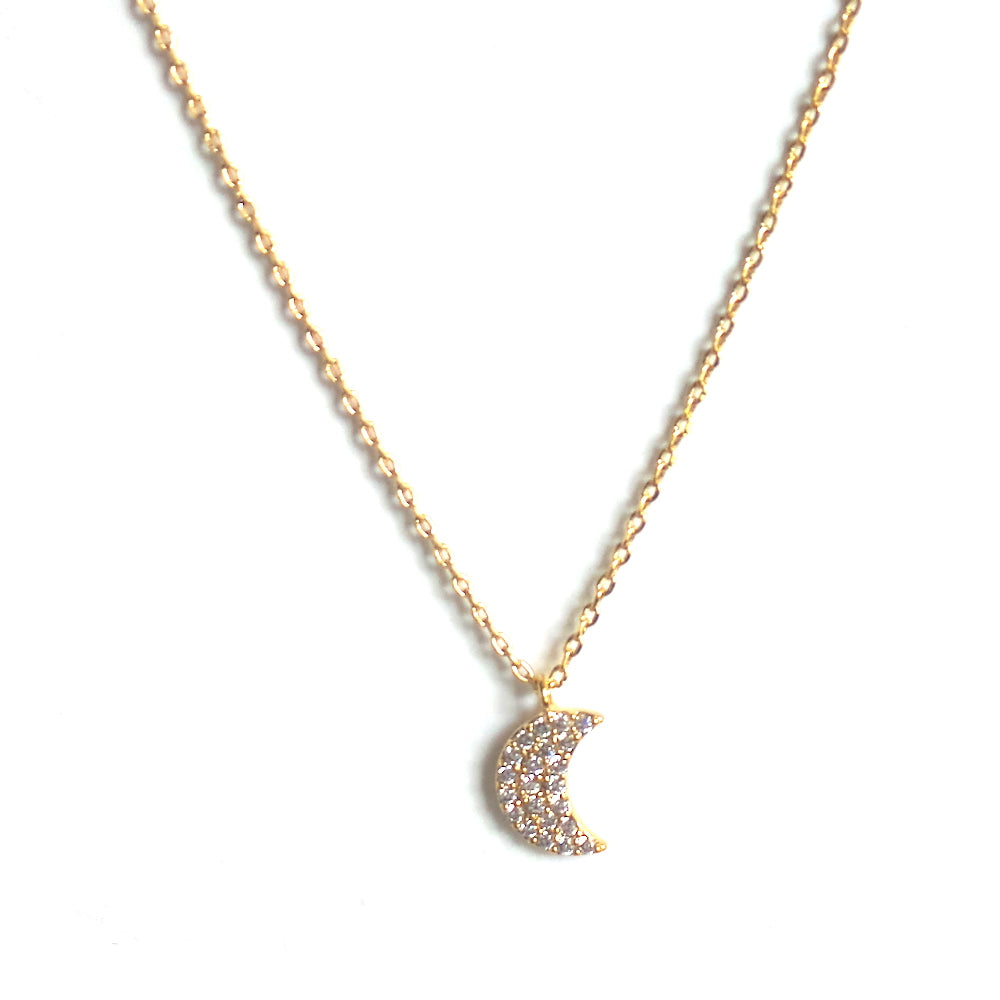 Gold Half Moon Pendant Necklace