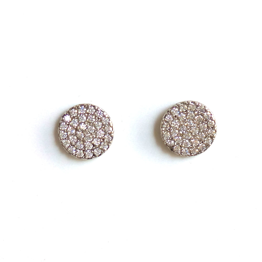 White Gold Pave Circle Stud Earrings - Estilo Concept Store