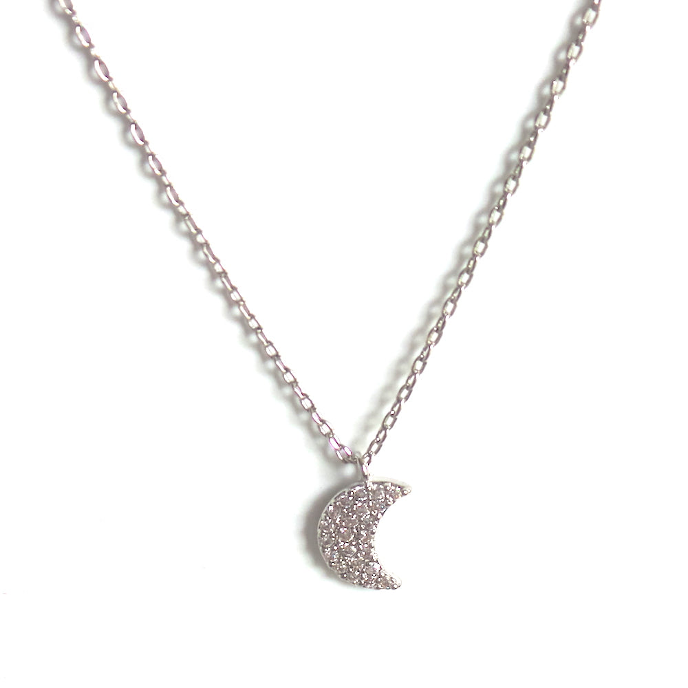 Silver Half Moon Pendant Necklace