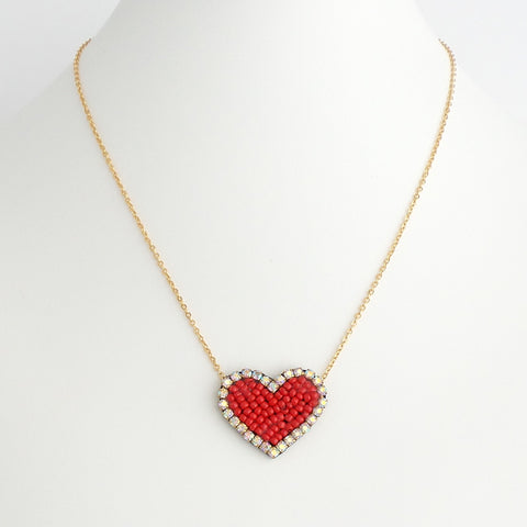 Beaded Heart Necklace - Estilo Concept Store