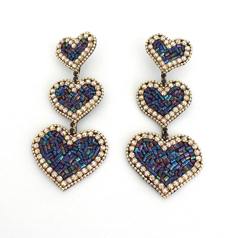Heart Long Statement Earrings