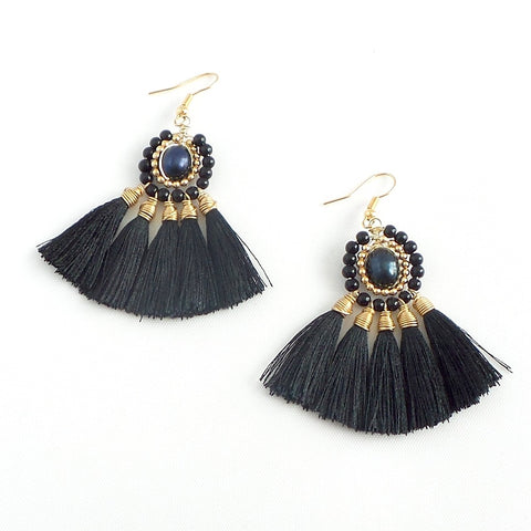 Silk Tassel Fan Earrings *click for more colors - Estilo Concept Store