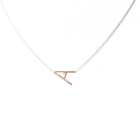 Silver Small Sideways Initial Necklace