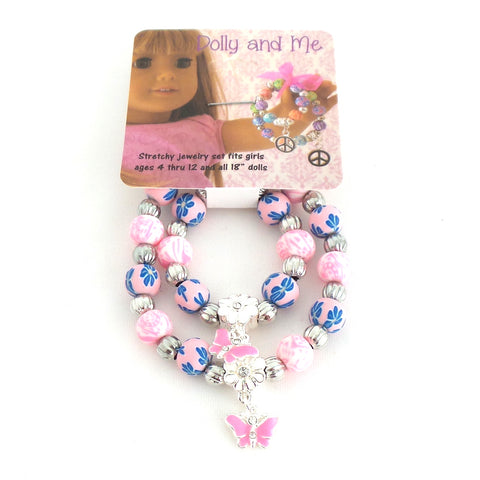 Dolly and Me Pink Butterfly Bracelet Set