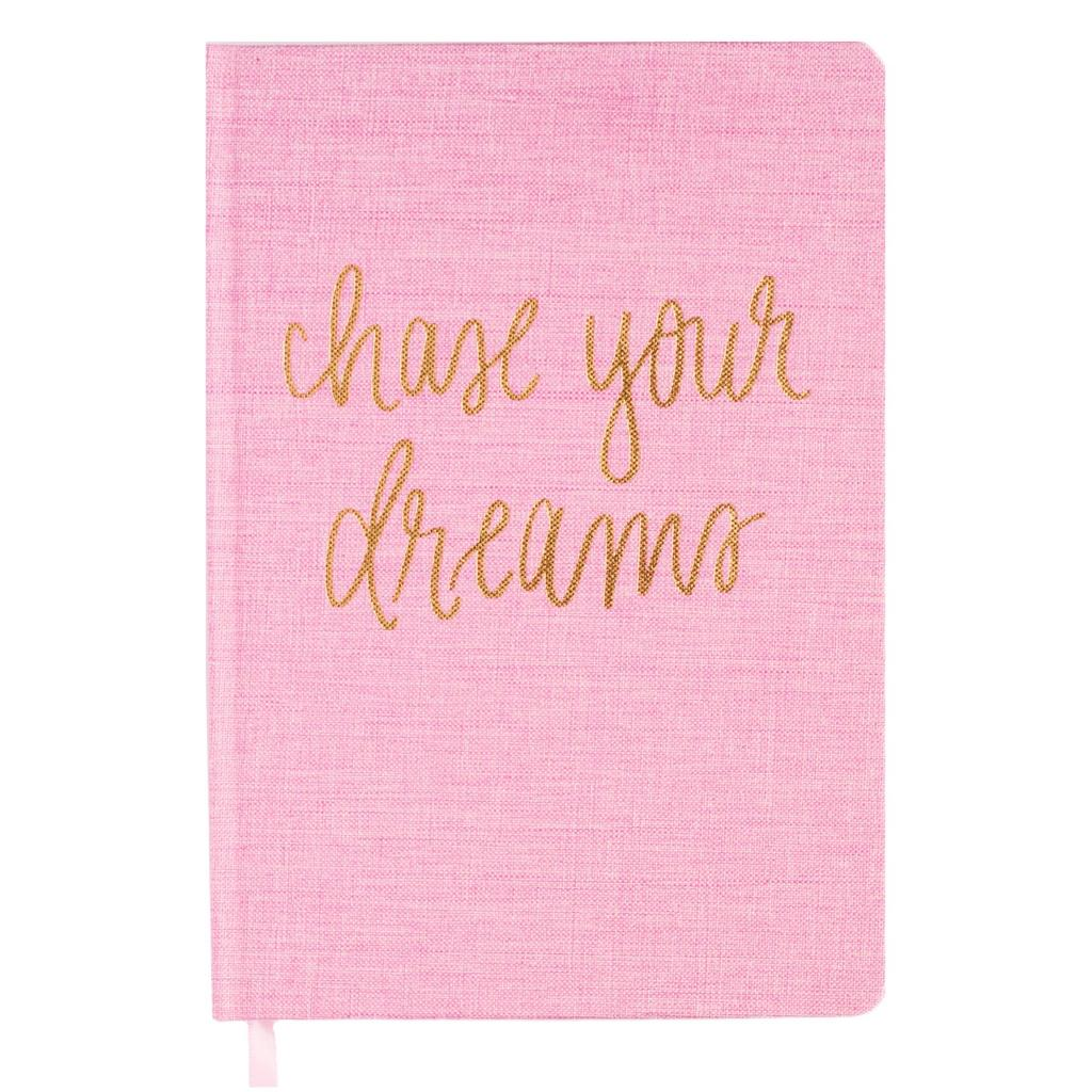 Chase Your Dreams Pink and Gold Fabric Journal - Estilo Concept Store