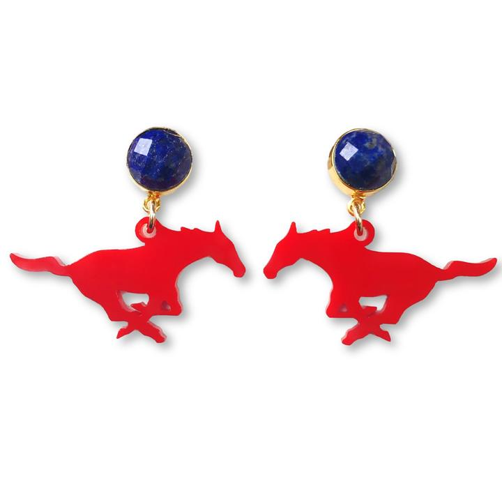 SMU Red Mustang Earrings - Estilo Concept Store