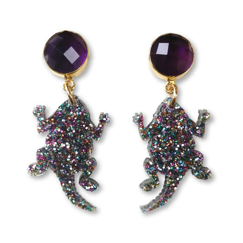 TCU Party Frog Earrings